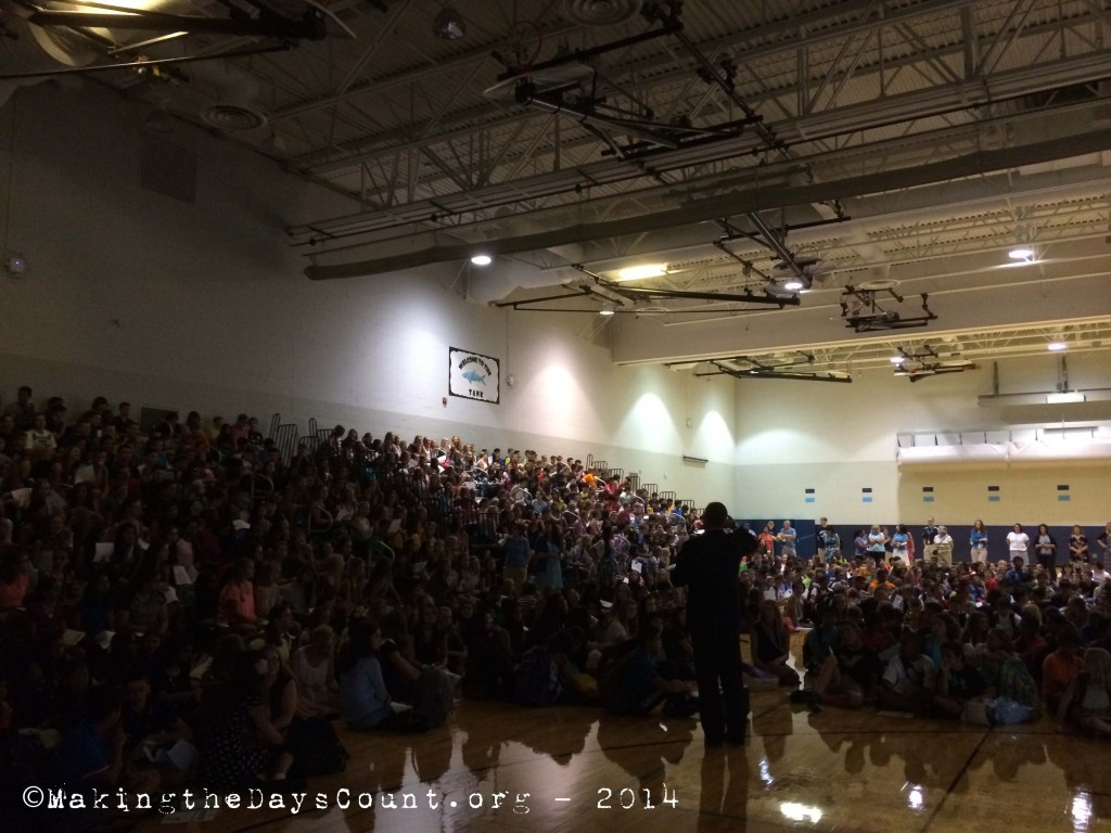 the first day, first morning, new principal address the student body - 'make difference in our school... make it better... make it happen'